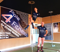 Clare and Mark of Pole 4 Fitness demonstrate the RugbyTTC roving strip